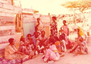 Edna Adan talking to village midwives in Djibouti about FGM, 1982