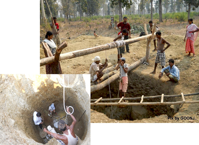 Well digging in Andhra Pradesh under Cloth for Work