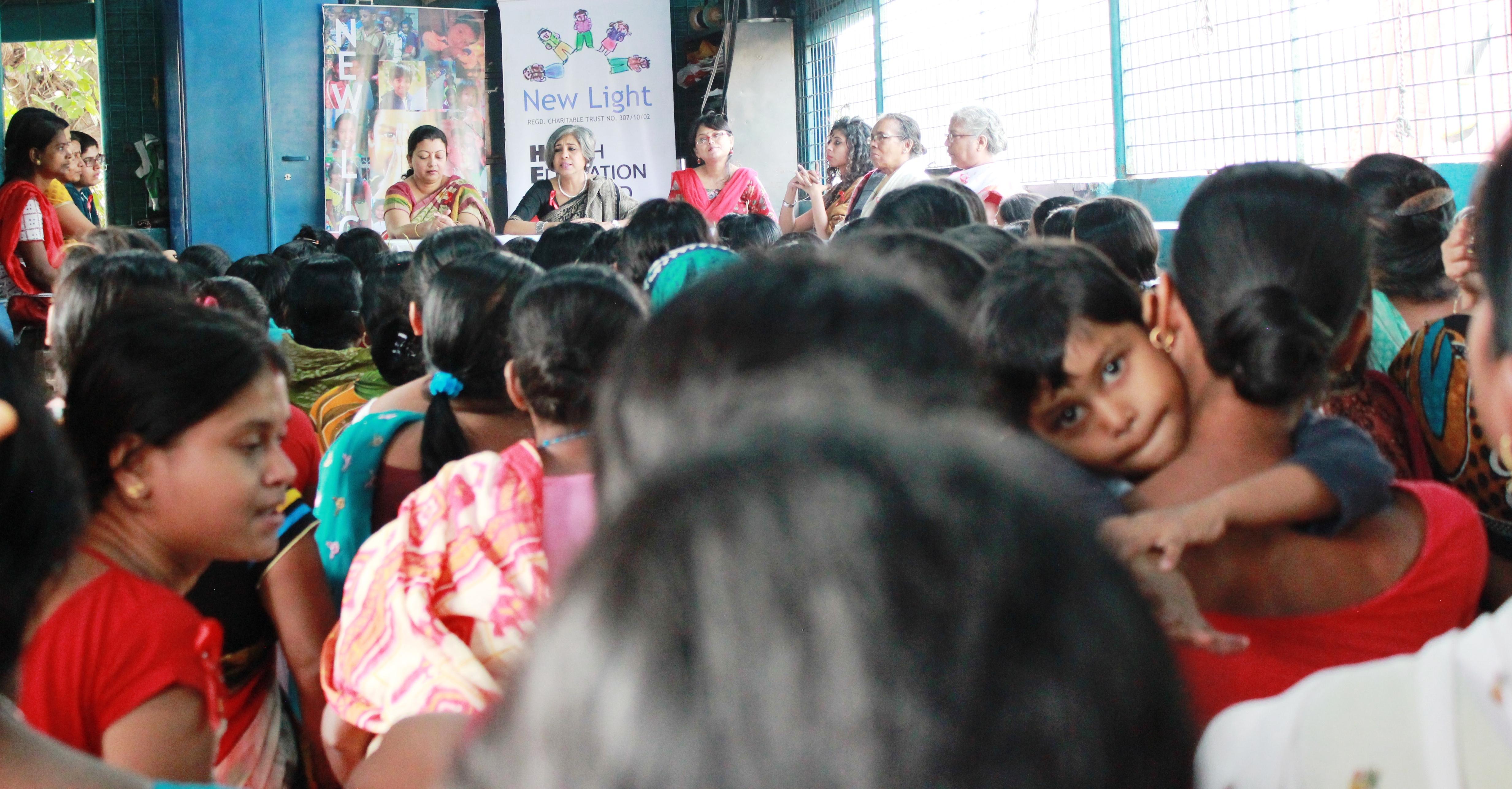 Urmi Basu at a mothers meeting at New Light