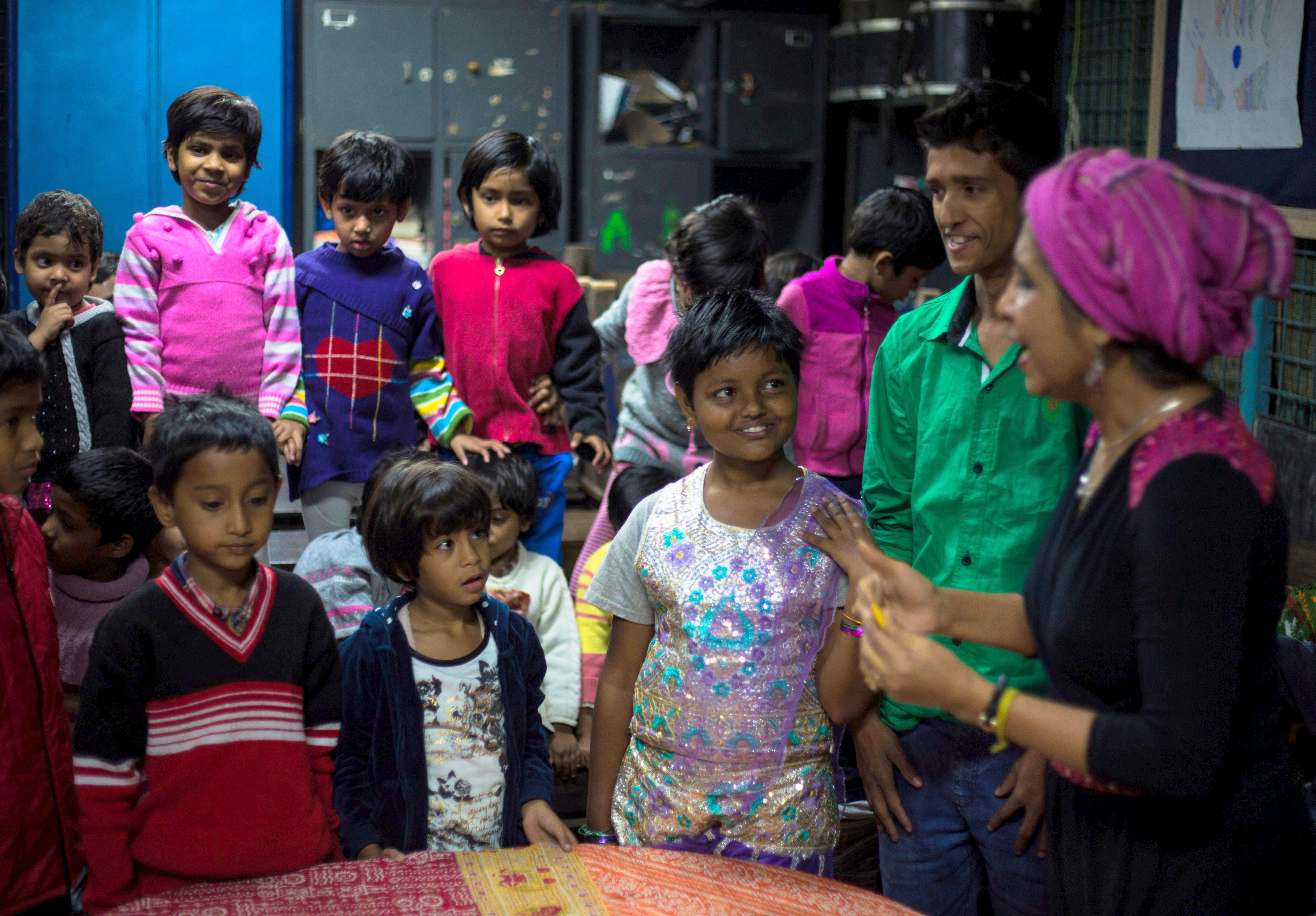 Urmi Basu with the children at New Light