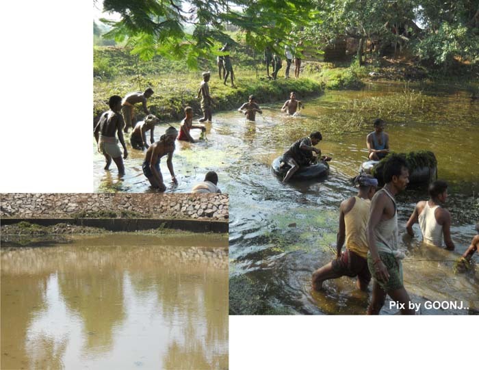 Pond cleaning in Odisha under Goonj's 'Cloth for Work' initiative.